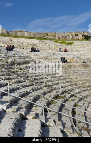 Teatro Greco, Neapolis, Syrakus, Sizilien, Italien - Stock Photo