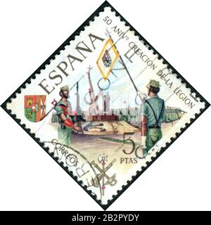 A stamp printed in Spain, dedicated to the 50th anniversary of the Legion, a voluntary military organization, depicts the Memorial service, circa 1971 - Stock Photo
