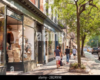 Bleecker Street in Greenwich Village, New York City, America, USA - Stock Photo