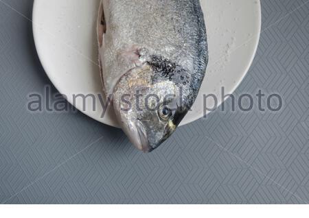 Fresh Gilt-head bream (Sparus aurata) with salt on plate . High angle view - Stock Photo