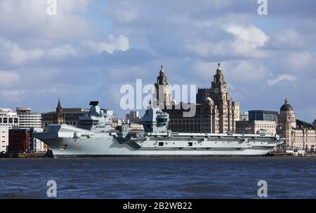 The new Royal Navy aircraft carrier, HMS Prince of Wales, moored in Liverpool during its week long visit in February-March, 2020. Stock Photo