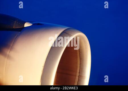 Airplane engine during the flight - Stock Photo