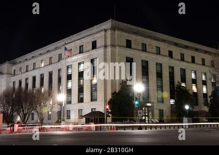 Dirksen Senate Office Building on Constitution Avenue across from the U.S. Capitol seen at night. - Stock Photo