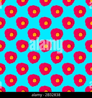 Seamless pattern raw pink eggs on blue background isolated, repeating ornament broken egg, yellow yolk on red backdrop, Easter banner, paschal poster - Stock Photo