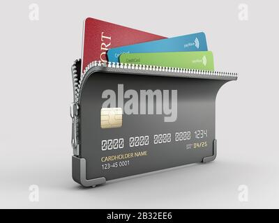 3d Rendering of Credit card with zipper and passport inside, clipping path included. - Stock Photo