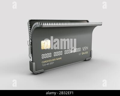 3d Rendering of Credit card with zipper clipping path included. - Stock Photo