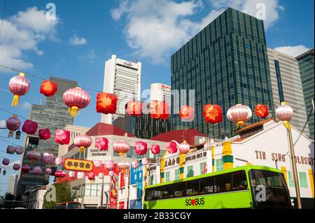 24.01.2020, Singapore, Republic of Singapore, Asia - Annual street decoration with colourful paper lanterns along South Bridge Road. - Stock Photo