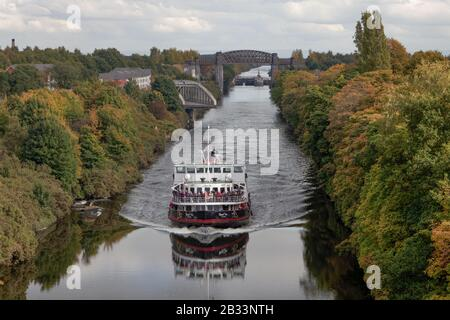 The Mersey Ferries' Royal Iris of the Mersey on the Manchester Ship Canal just after leaving Latchford Locks in Warrington - Stock Photo