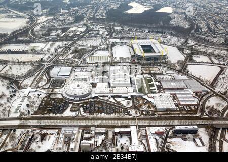 snow-covered terrain of Borusseum, the Signal Iduna Park and soccer stadium Westfalenstadion of Dortmund BVB, 19.01.2013, aerial view, Germany, North Rhine-Westphalia, Ruhr Area, Dortmund