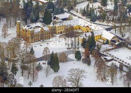 Schloss Herdringen, Castle Herdringen in Arnsberg, 26.01.2013, aerial view, Germany, North Rhine-Westphalia, Sauerland, Arnsberg - Stock Photo