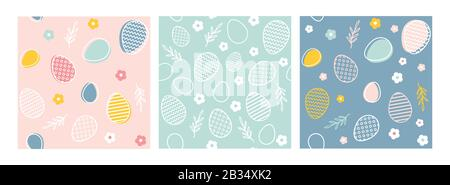 easter seamless patterns. Spring pattern for banners, posters, cover design templates, social media stories wallpapers and greeting cards. - Stock Photo