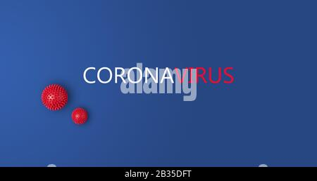Red and white inscription Coronavirus on blue background with abstract viral strain model with copy space, banner. Corona virus 2019-nCoV from Wuhan, China - Stock Photo