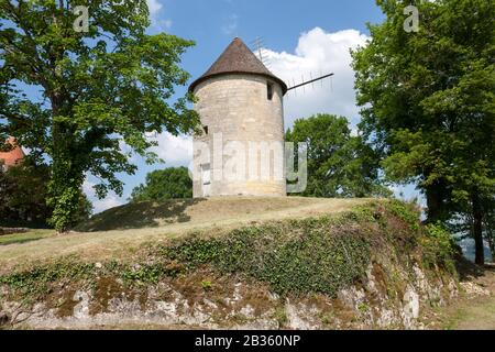 French Windmill in the sunshine Domme Dorodgne France - Stock Photo