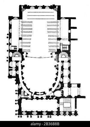 Ground plan of the Royal Opera of Versailles, France, 1860s