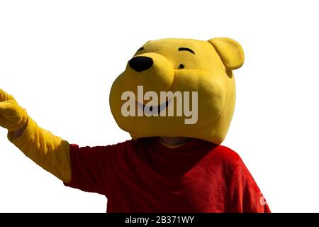 child dressed as a bear in the window - Stock Photo