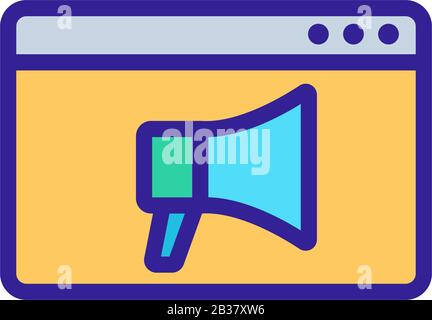 megaphone, browser icon vector. Isolated contour symbol illustration - Stock Photo