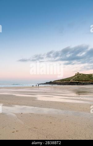 Sunset from Porthmeor Beach, St Ives, looking towards the Island