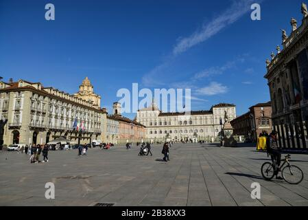 General view of piazza Castello deserted following the corona virus threat.Italy registered a 25% surge in coronavirus cases in 24 hours, with infections remaining centered on outbreaks in two northern regions, Lombardy and Veneto, 2.502 people were infected by the novel Coronavirus so far (among these 79 people died - mainly because of a previous and serious clinical picture compromised by the virus-, 2263 people are currently positive and 160 people already recovered). The spread marks Europe's biggest outbreak, prompting Italian Government to issue draconian safety measures. - Stock Photo