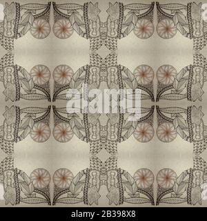 Seamless backdrop in the style of zenart. Geometric shapes, feathers and leaves. Hand-drawn. - Stock Photo