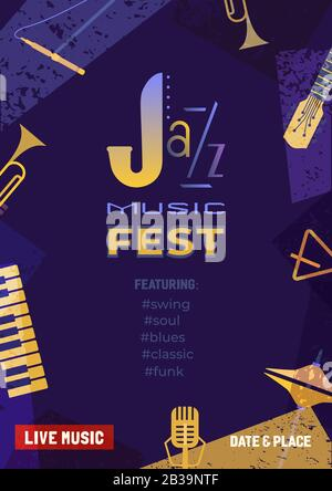 Jazz music fest flat color vector poster template