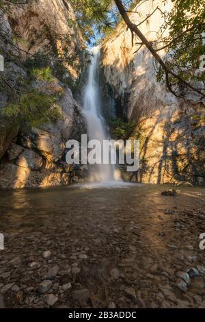 Beautiful waterfall on Nugal beach, Makarska - Stock Photo