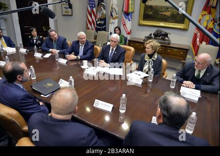 Washington, United States. 04th Mar, 2020. Vice President Mike Pence makes remarks during a meeting with representatives of diagnostic labs, at the White House, Wednesday, March 4, 2020, in Washington, DC. Pence leads the task force to mitigate the spread of the deadly coronavirus in the U.S. Photo by Mike Theiler/UPI Credit: UPI/Alamy Live News - Stock Photo