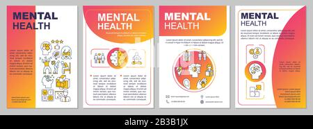 Mental health brochure template. Psychiatry flyer, booklet, leaflet print, cover design with linear icons. Psychological wellness. Vector layouts for - Stock Photo