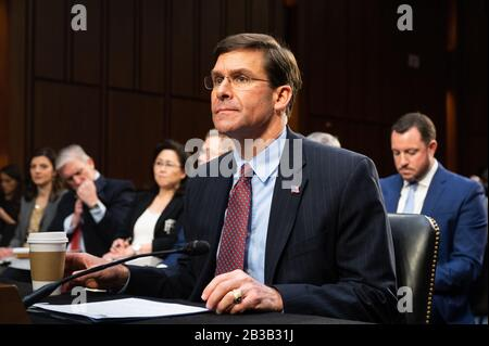 Washington, U.S. 04th Mar, 2020. March 4, 2020 - Washington, DC, United States: Mark Esper, U.S. Secretary Of Defense, at a hearing of the Senate Committee on Armed Services. (Photo by Michael Brochstein/Sipa USA) Credit: Sipa USA/Alamy Live News - Stock Photo