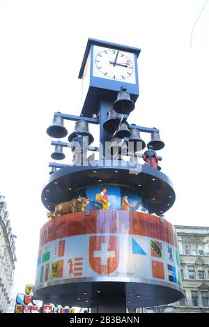 The historical Swiss Glockenspiel on Leicester Square, in London's West End, in the UK