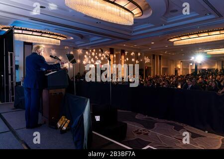 Washington, United States Of America. 04th Mar, 2020. Washington, United States of America. 04 March, 2020. U.S President Donald Trump addresses the Latino Coalition Legislative Summit at the JW Marriott March 4, 2020 in Washington, DC. Credit: Tia Dufour/White House Photo/Alamy Live News - Stock Photo