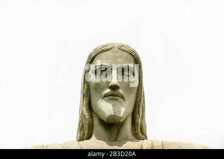 Head of the iconic statue of the huge statue of Christ the Redeemer, Mirador Cristo Redentor, Corcovado mountain, Rio de Janeiro, Brazil - Stock Photo