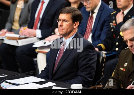 Washington, United States. 04th Mar, 2020. Mark Esper, U.S. Secretary Of Defence, at a hearing of the Senate Committee on Armed Services. Credit: SOPA Images Limited/Alamy Live News - Stock Photo