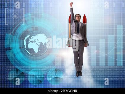 The businessman flying with rocket in funny business concept - Stock Photo