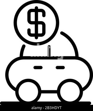 Loan car icon, outline style - Stock Photo