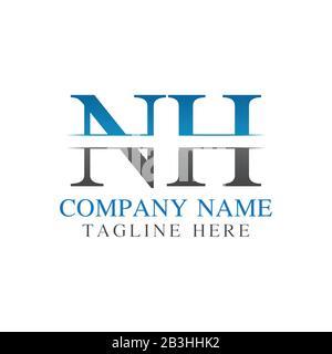 Initial Monogram Letter NH Logo Design Vector Template. NH Letter Logo Design - Stock Photo