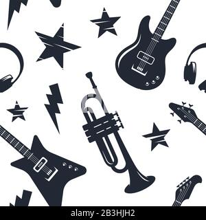Music instruments seamless pattern. Disco music abstract background - Stock Photo