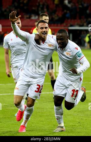 Leverkusen, Germany. 4th Mar, 2020. Marcus Ingvartsen (L) of Union Berlin celebrates after scoring during during a 2019-2020 season German Cup quarter-final match between Bayer 04 Leverkusen and FC Union Berlin in Leverkusen, Germany, March 4, 2020. Credit: Joachim Bywaletz/Xinhua/Alamy Live News