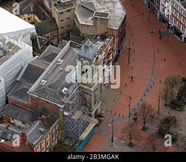 aerial view of The Guildhall Theatre in Derby - Stock Photo