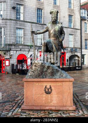 The Gordon Highlanders Statue by sculptor Mark Richards on Castle Street in Aberdeen Scotland