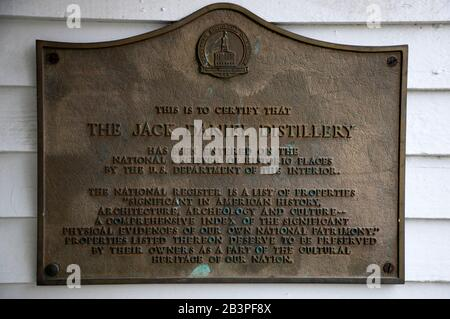 The metal plaque certified Jack Daniel Distillery on the national register of historic places.Jack Daniel Distillery.Lynchburg.Tennessee.USA - Stock Photo