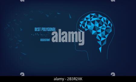 Polygonal brain. Silhouette of head. Concept vector illustration. Dark blue background. - Stock Photo