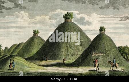Roman burial ground, Bartlow Hills, England - scan of original 1779 coloured engraving - detail 1 - Stock Photo