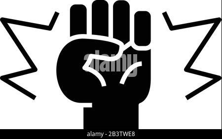 Strike black icon, concept illustration, vector flat symbol, glyph sign. - Stock Photo