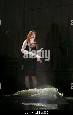 MEDEA by Charpentier after Euripides conductor: Christian Curnyn design: Bunny Christie lighting: Paule Constable choreography: Lynne Page director: David McVicar  Sarah Connolly (Medea)  English National Opera (ENO), London Coliseum WC2  15/02/2013 - Stock Photo