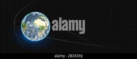 Earth planet with space-time 3D rendering - Stock Photo