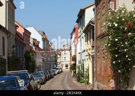 Historic Alley at Wismar, Mecklenburg Western Pomerania, Germany, Europe Stock Photo