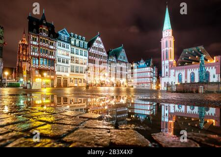 Roemerberg, the medieval Old town of Frankfurt on Main city, Germany, at night