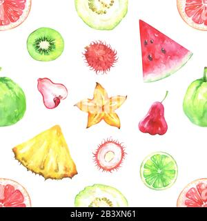 Hand painted watercolor seamless exotic fruits pattern - Stock Photo
