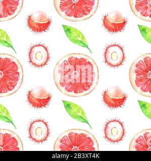 Hand painted pattern with watercolor grapefruit, rambutan and green leaves - Stock Photo