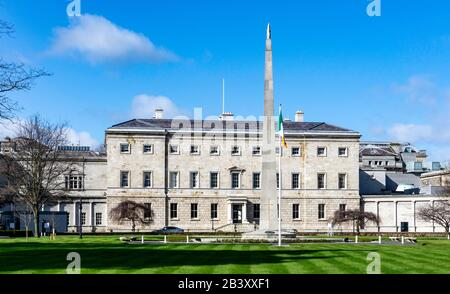 The rear of Leinster House, once the family home of The Duke of Leinster,it is now the  seat of the Oireachtas, the parliament of ireland. - Stock Photo